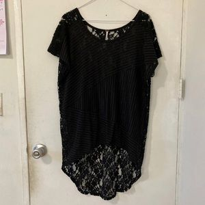 Free People black stripe and lace blouse